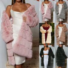 Women Winter Faux Fur Coats Long Sleeve Fluffy Jacket Coat Long Overcoat AU