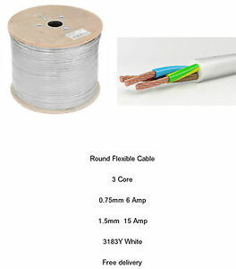 White Black Flex Electric Cable Round 3 Core 0.75mm 1mm 1.5mm 2.5mm 6A 15A 24A