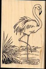 STAMPENDOUS rubber stamp FLAMINGO wood mounted Tropical Bird Large