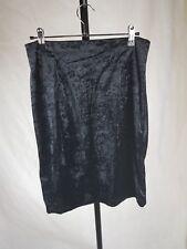 KE-SUNSHINE size M 10 12 Black vintage crushed velvet pencil skirt 90s grunge