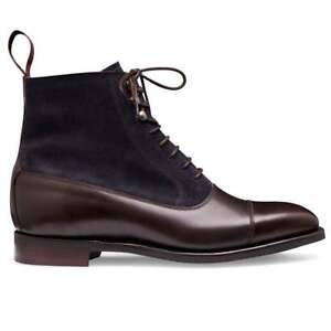 Handmade Men's Two Tone Brown Leather Blue Suede Toe Caped Jodhpur Lace Up Boot