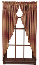 """Country Burgundy Check Lined Prairie Swag Curtains 72WX63L Check Size 1/2"""""""