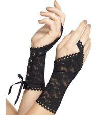 Mujer Disfraz de Halloween Encaje Glovettes Vampiro Guantes Negra Smiffys Nuevo
