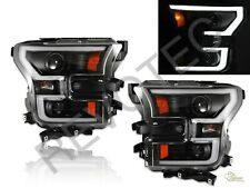 2015-2016 Ford F150 Pickup LED Plank Style Projector Headlights Black RH & LH