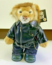 "Build A Bear Lion 15"" World Wildlife Fund WWF Biker Leather Jacket Jeans DS67"