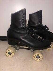 Vintage Black Riedell Snyder Roller Skates Men's Size 8.5 Bob LaBriola Wheels