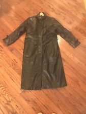 VTG MIROPA Womens FULL LENGTH TRENCH Leather THINSULATE /Coat BLACK S (HEAVY)