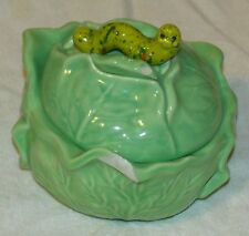 RARE Holland Mold Worm Handle Lettuce Porcelain Serving Bowl w/Lid Fair Cond.