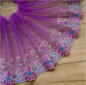 B164 1yards Tulle Lace Trim Ribbon Embroidered for Dess Skirt Sewing Craft doll
