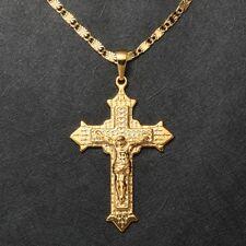 Herren Gelbgold 3mm Halskette mit Jesus Kreuz Anhänger 999er Gold vergoldet 60cm