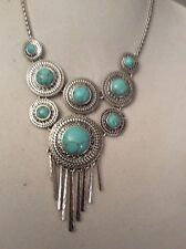 LUCKY BRAND NECKLACE, ROUND TURQUOISE SET IN SILVERTONE MEDALLIONS, #156 $75 (2)