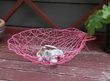 Pink Metal Clam Shell Basket/Bread-Fruit-Shell/Beach Decor/Plastic Coated Wire