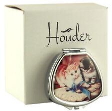 Cute Kitten Cat Pill Box Decorative Travel Med Case Holder Women Metal Organizer