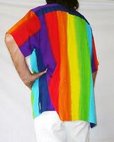 RAINBOW-COLOURED MENS LOUD HAWIIAN SHIRT, STAG NIGHT SUMMER HOLIDAY FANCY DRESS