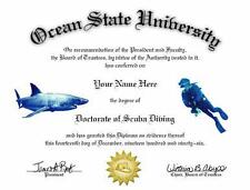 DOCTORATE IN SCUBA DIVING NOVELTY DIPLOMA! GREAT GIFT!