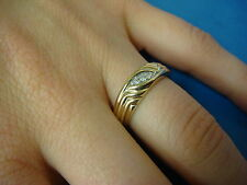 14K YELLOW GOLD LADIES DIAMOND WEDDING BAND, 3.4 GRAMS, SIZE 6.5, 5.3 MM WIDE.