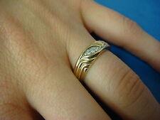 14K YELLOW GOLD LADIES DIAMOND WEDDING BAND, 3.4 GRAMS, SIZE 6.5, 5.3 MM WIDE.