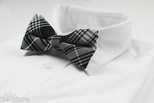 MENS BLACK AND WHITE COTTON PATTERN BOW TIE PRE-TIED MEN'S BOWTIE WEDDING FORMAL
