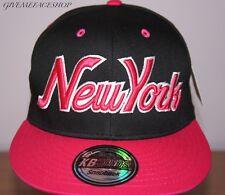 Exclusivo NY GORRA snapback, Ajustada, RETRO Plano Peaks , Hip Hop ROSA Béisbol