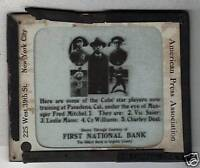 1917 Chicago Cubs Lantern Slide with Mitchel/Deal/ Mann Cy Williams Notre Dame*