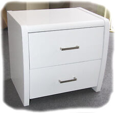 Wave Bedside Table - 2 Drawers - Hi Gloss White - Fully Assembled - BRAND NEW