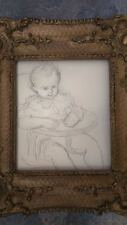 Dessin poupon signé. Drawing signed baby superbe cadre 36x30 tampon atelier