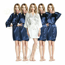Set of 5pcs Solid plain satin robe Bridesmaid robes gowns bride wedding robes ..