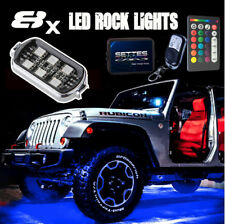 8 RGB LED Rock Light Pod Kit Music Sounds Active Flashing Multicolor Off Road