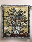 Suzanne Etienne Blue & White Vase Flower Bouquet Tapestry Wall Hanging NEW