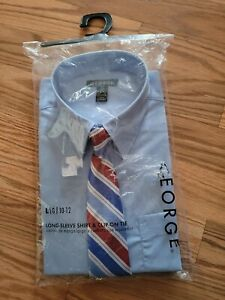 George Boy's Blue Shirt Red White Blue Clip-on Ties Set ~ Large (10-12)