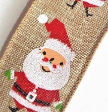 "2-YD 1.5"" Cute Red Glitter SANTA Tan/Brown Wire edge Linen-look Christmas Ribbon"