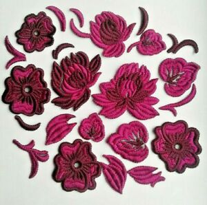 Flowers Fancy Violet Delicate Extra Quality Sew-On Embroidered Patch Applique