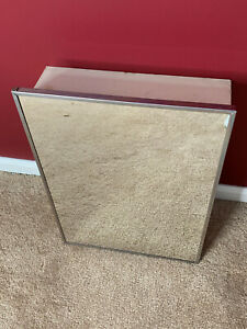 """Vintage Metal Medicine Cabinet with Mirror for Refinishing - 14.5"""" x 20"""""""