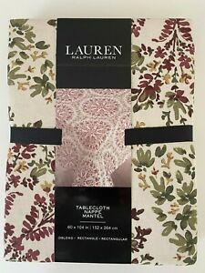 Ralph Lauren Oblong Rectangle Tablecloth 60 x 84 104 120 Burgundy Green Holidays
