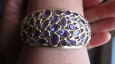 Estate  Heavy Huge 14k yellow gold Amethyst bangle bracelet  35 +carat 7.5 inch