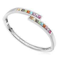 18K White Gold Plated  Bracelet Bangle made with Swarovski Crystal  Elements