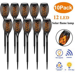 4-12 Solarleuchte LED Garten Beleuchtung Solar Licht Lampe Fackel Leuchte Flamme