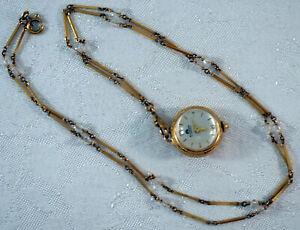 Vintage Bucherer Ball Enamel Flower Pendent Watch Gold Filled Original Chain Box