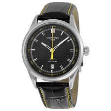 Certina DS-2 Precidrive Quartz Black Dial Black Leather Mens Watch