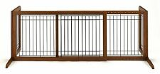 Richell Wood Freestanding Pet Gate, Large With Side Panels In Brown 94136 New