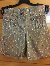 Gymboree Girls Island Getaway Green Denim Floral Shorts Size 5
