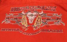Bikers World Men's Orange Denim Vest Shirt 2001 Size Large Bike Rally 2001