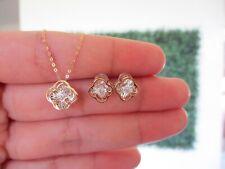 .06 CTW Dancing Diamond Clover Earrings&Necklace Set 18k Twotone Gold DDS06 sep