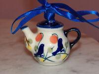 Genuine UNIKAT Polish Pottery Tea Pot Ornament!  Blue Birds Pattern!