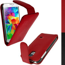 Rosso Vera Pelle Flip Custodia Cover para Samsung Galaxy S5 SV SM-G900 Pellicola
