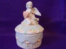 Round Jewel / Trinket Box with Angel - 3 inches round