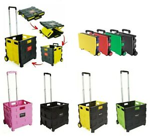 Folding Boot Cart Shopping Trolley Fold Up Storage Box Wheels Crate Foldable UK