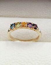 9ct Gold Topaz, Peridot, Citrine, Amethyst & Garnet Eternity Ring Size M 3/4