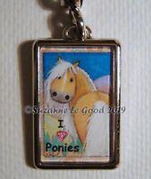 Pony horse palomino painting keyring handbag glittery charm by Suzanne Le Good