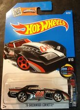 Hot Wheels CUSTOM Super 76 Greenwood Corvette with Real Riders 2016 L Case